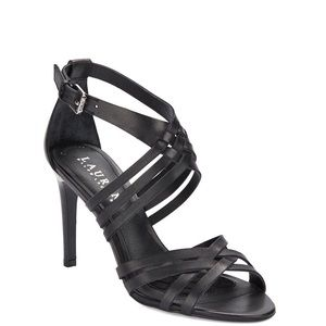 Ralph Lauren | Saba Black Leather Open Toe Heels